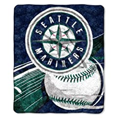 MLB Seattle Mariners 50-Inch-by-60-Inch Sherpa on Sherpa Throw Blanket Big Stick... by Northwest