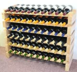 Wine Rack Wood -60 Bottles Modular Hardwood Wine Racks (10 bottles x 6 shelves)