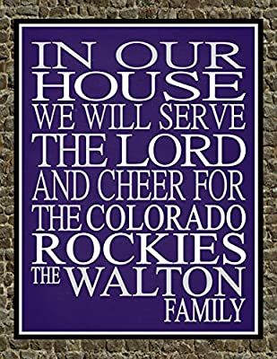 In Our House We Will Serve The Lord And Cheer for The Colorado Rockies Personalized Family Name Christian Print - Perfect Gift, baseball sports wall art - multiple sizes