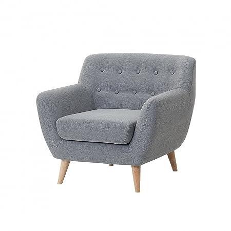 Fauteuil en tissu - fauteuil tapissé gris clair - Motala