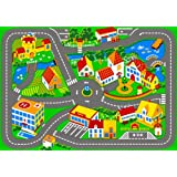 Associated Weavers - Alfombra infantil para jugar (95 x 133 cm), diseño de ciudad con carreteras