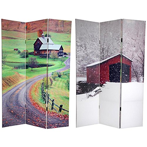 Oriental Furniture 6 ft. Tall Double Sided Rural Beauty Room Divider