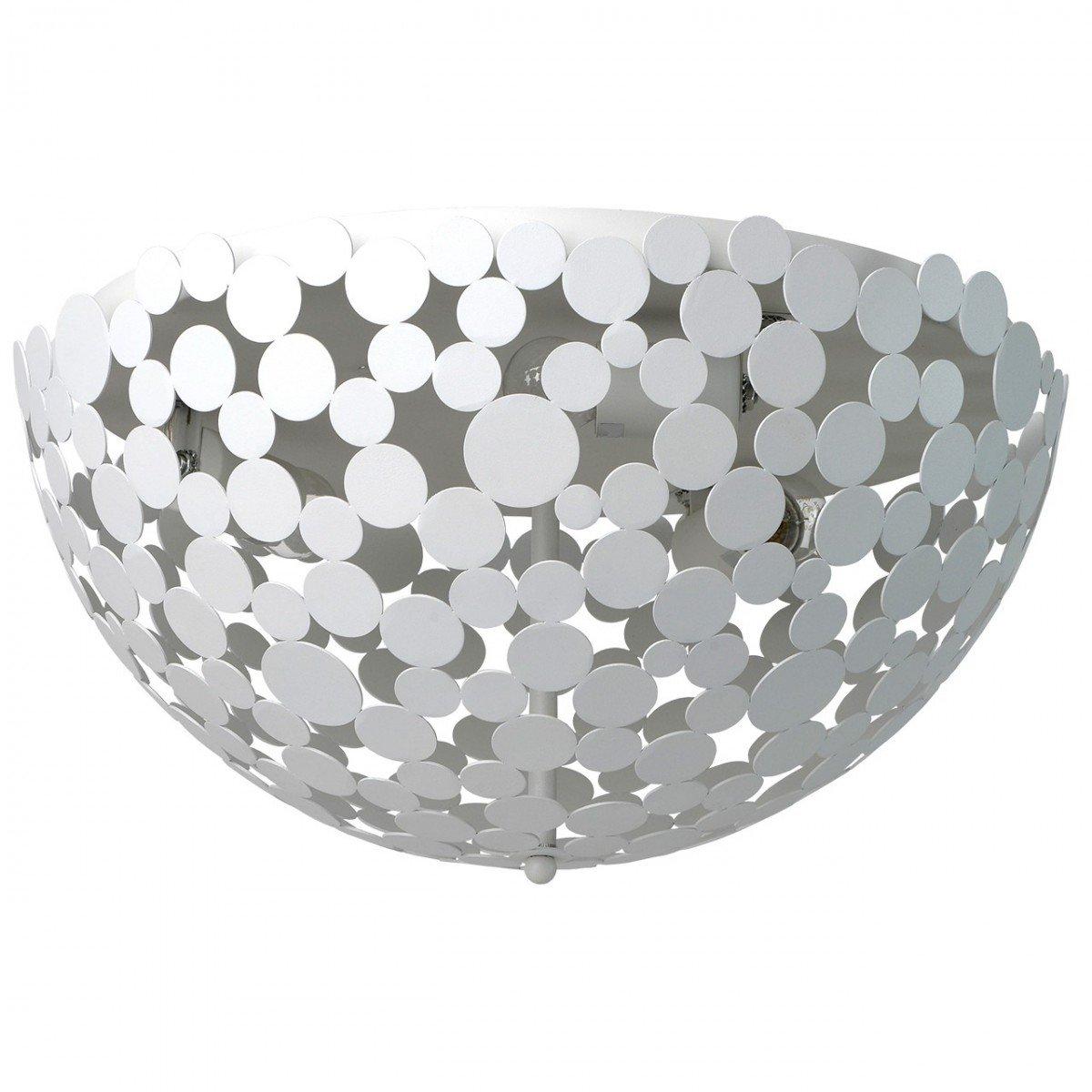 Deckenleuchte Deckenlampe Leuchte Megapolis Style, rund Ø 52 cm, Metall in Weiß, 3 x E27 max. 60 W