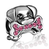 JMQJewelry Dog Paws Charms Pink Animal Bead For Bracelets Sister (Color: Pink)