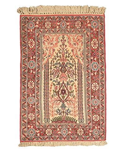 Hand-Knotted Kashmir Kerman Silk Rug, Pink, 2' 6 x 3' 10