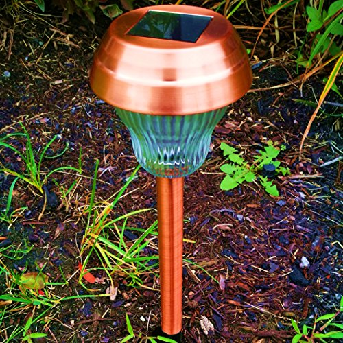 6Pack White/Blue Dual LED Glass Lens Copper Finish Solar Lights Outdoor  Sogrand Solar Pathway Lights Solar Landscape Lighting Solar Path Lights  Solar Garden ...
