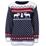 Ladies Mens Jumper Novelty Christmas Xmas Knit Reindeer Retro Sweater MFDEER