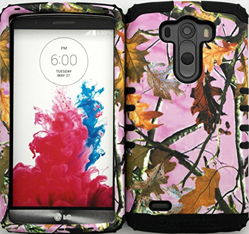 Wireless Fones TM Hybrid Dual Layer Cover Case for LG G3 Mossy Camouflage Pink Camo Snap on Black Skin
