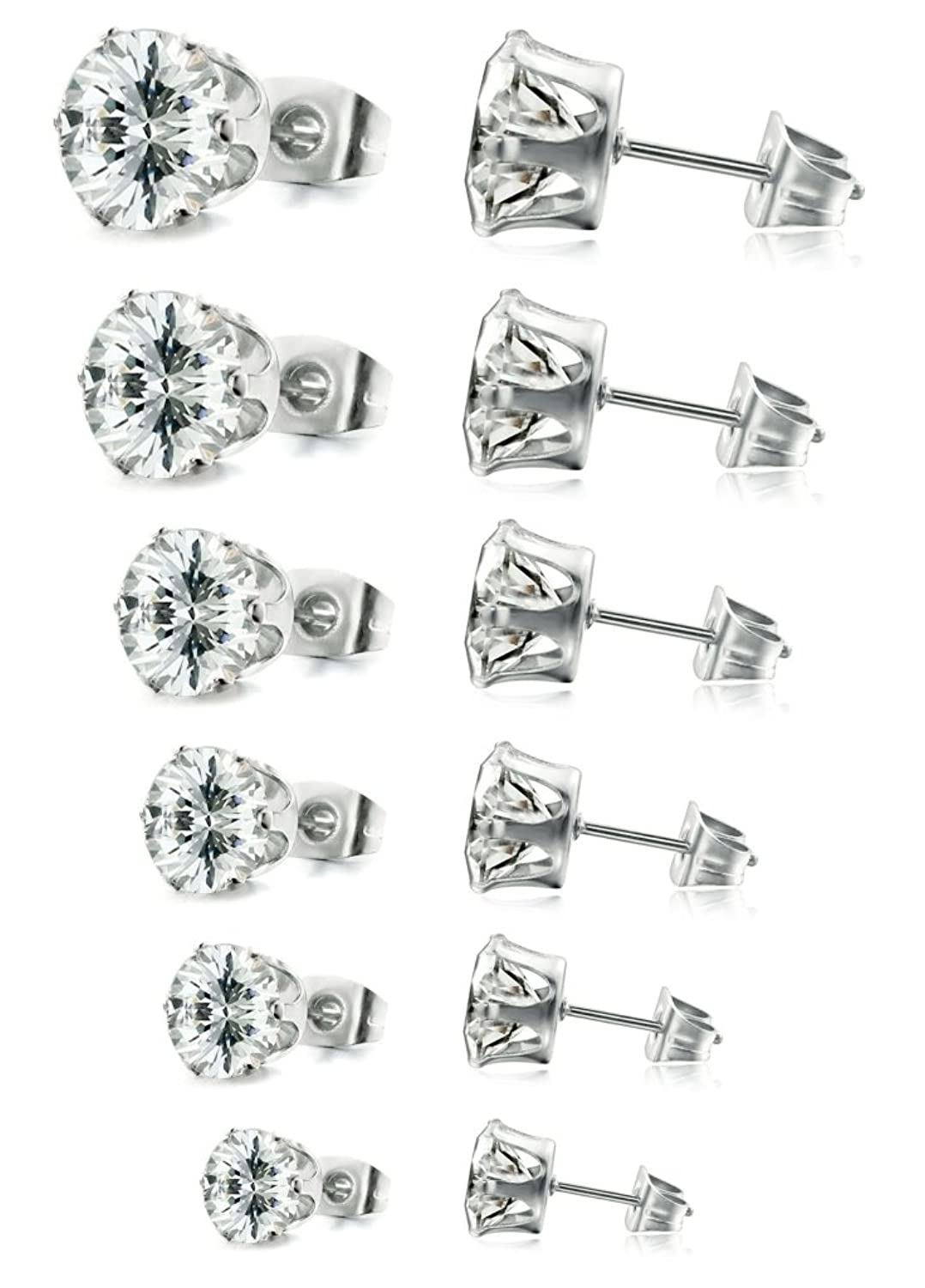FIBO STEEL Stainless Steel Womens Stud Earrings Cubic Zirconia Inlaid,3mm-8mm 6 Pairs