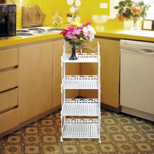 White Vintage Style Kitchen Bathroom 4 Tier Shelf Shelves Storage Unit Rack Bakers Display Stand Metal