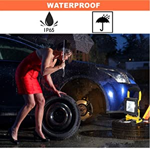 10W LED Work Light Rechargeable Portable Floodlight Outdoor Waterproof Camping Battery Emergency Spotlight for Car Garage Home Garden Security Light with USB Port (Color: Black)