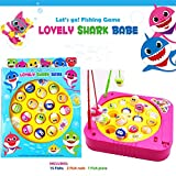 JX Fishing Game Toy Set with Single-Layer Rotating Board with On/Off Switch for Quiet Play Includes 15 Fish and 2 Fishing Poles Gift for Toddlers and Kids (Yellow)