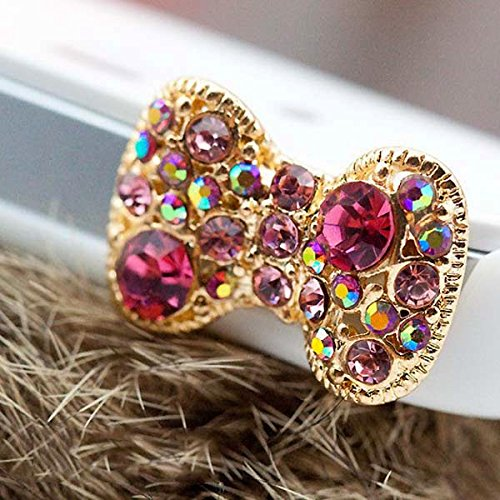 Dust Plug - Cute colorful bow with many bling rhinestone for dust plug charm trinket phone accessories earphone jack 3.5mm audio cap for iPhone 4S 5 5S 5C Samsung Galaxy S4 IV Note II BlackBerry Windows Nokia iPhone iPad iPod (Rhinestone Dust Plug compare prices)