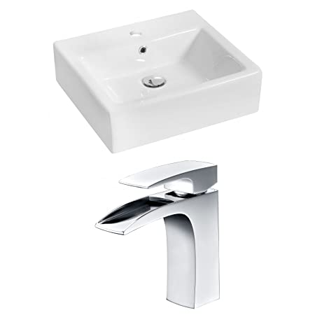 "Jade Bath JB-14934 20"" W x 18"" D Rectangle Vessel Set with Single Hole CUPC Faucet, White"