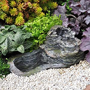 Miniature fairy garden small waterfall with for Small garden pond water pumps