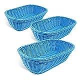 Colorbasket 31404-102 Hand Woven Waterproof Rectangular Basket, Dark Blue, Set of 3