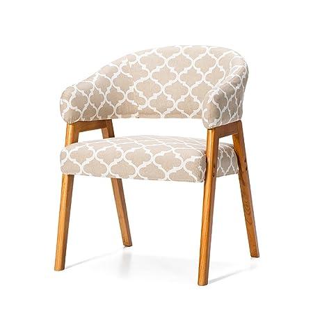 Sillas de tela, madera maciza con reposabrazos, sillones de estudio nórdicos, escritorio y sillas, sillas simples modernas ( Color : # 1 )