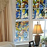 Grapevine Static Window Films 3M PVC Films Glass Sticker Non-glue Fork Art Glass Window Decals(1PC)