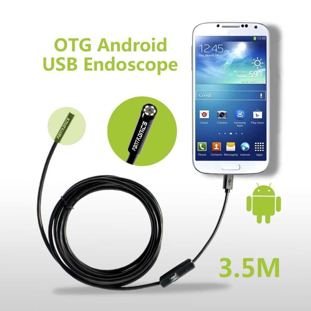 Fantronics 7mm Android Endoscope OTG Micro USB Endoscope Waterproof Borescopes Inspection Camera with 6 LED and 3.5M Cable