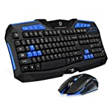 Picktech F1 Wireless Keyboard Mouse Combo, 2.4GHz Full Size Waterproof Keyboard and Optical Wireless Gaming Mouse Set Compatible with PC, Laptop, Notebook, Desktop, Computer (Blue) (Color: blue)