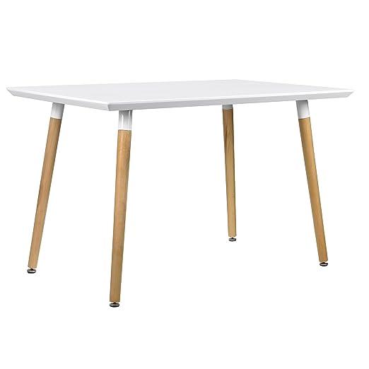 [en.casa] Table à salle a manger pour chaises blanc [120x80cm] salle de séjour
