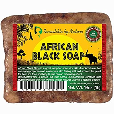 #1 Best Quality African Black Soap - Raw Organic Soap for Acne, Eczema, Dry Skin, Psoriasis, Scar Removal, Face & Body Wash, Authentic Beauty Bar From Ghana West Africa Incredible By Nature
