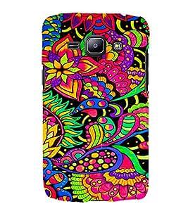 Leafs Flowers Floral 3D Hard Polycarbonate Designer Back Case Cover for Samsung Galaxy J1 (2016) :: Samsung Galaxy J1 (2016) J120H