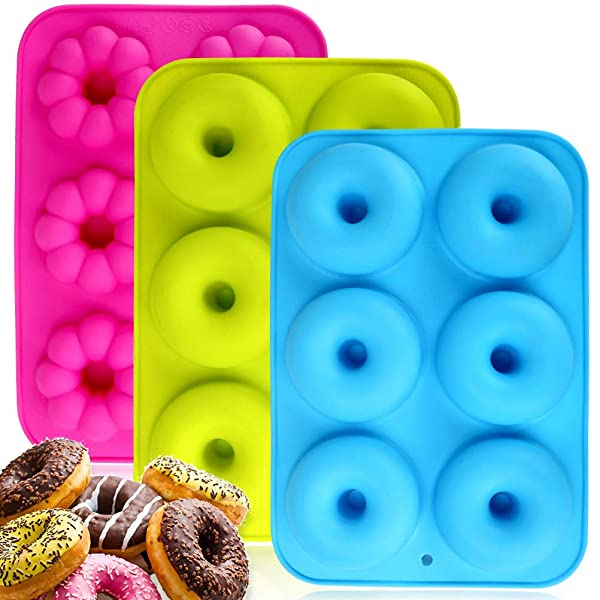 2 Packs of 8-Cavity Silicone Donut Mold with Spatula Flexible SourceTon 3 pcs pack of Donut Pans and Spatula Set Non-Stick Baking Pan Heat Resistant Brown