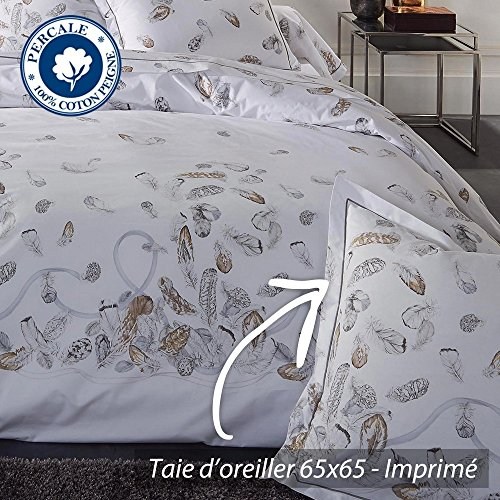 Federa cuscino 65x65 cm Percalle di cotone PLUMES