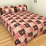 BeautifulHOMES 180 TC Cotton Double Bedsheet with Two Pillow Covers - Multi Color, CF017