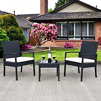 Tangkula 3 PCS Outdoor Rattan Patio Furniture Set Backyard Garden Furniture Seat Cushioned (black)