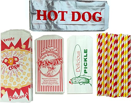 Outside the Box Papers Ultimate Carnival Party Pack - 24 Foil Hot Dog Bags 24 Printed Pickle Bags , 24 Peanut Bags ,24 Popcorn Bags and 25 Each of Red and Yellow Paper Straw (Hot Dog Carnival compare prices)