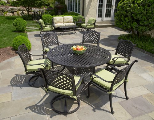 Heritage Outdoor Living Nassau Cast Aluminum 7pc Patio Set With 60 Table An