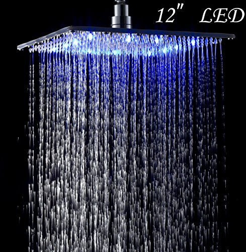 LED Colors 12 Inches Top Shower Head Chrome Brass Rainfall Over-head Sprayer (Shower Head 12 Led compare prices)