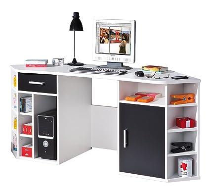 Links 13300200 Schreibtisch Eckschreibtisch weiß schwarz Computertisch PC-Tisch Buro Buromöbel