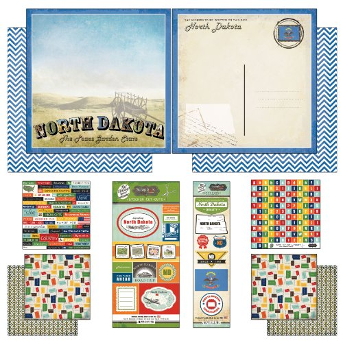 Scrapbook Customs Themed Paper and Stickers Scrapbook Kit, North Dakota Vintage - 1