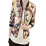 Women's Tops, Franterd Stand Collar Zipper Floral Printed Bomber Jacket