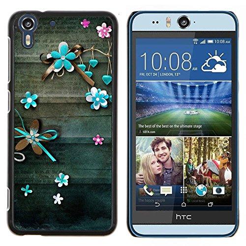 - letter old vintage teal - - Cover in pelle di protezione del modello FOR HTC Desire EYE M910x RetroCandy