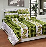 Soni Traders Green Designer Pure Cotton Double Bedsheet With Pillow Cover- Bedsheet- 90 Inches X 90 Inches; Pillow Cover- 16 Inches X 27 Inches