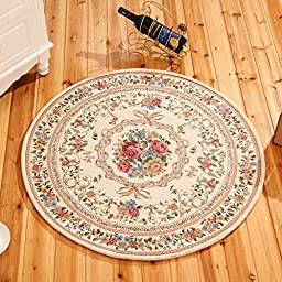 European Countryside Round Area Rug for Living Room Bedroom Computer Floral Carpet (3\'3x3\'3, 2 Beige)