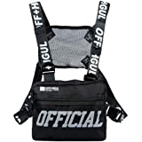abcGoodefg Tactical Chest Rig Radio Shoulder Holster Holder Pack Walkie Talkie Harness Hip Hop Backpack Chest Rig Vest Harness, Black (Color: Black-A)