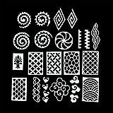 PUEEN Vinyl Nail Stencil Set 2 (#09-16) - Pack Of 8 Sheets - Super Sized 4x6in - Nail Art Designs Mermaid Heart...