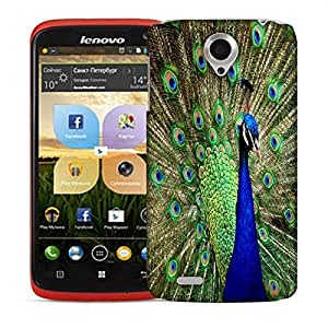 Snoogg Blue Peacock Designer Protective Back Case Cover For LENOVO S820