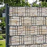 M-tec-print-bedruckte-PVC-Zaunstreifen-hellen-Sandstein-Tessin-Sichtschutzstreifen-fr-3-Reihen-im-Zaunfeld-inkl-6-Klemmschienen