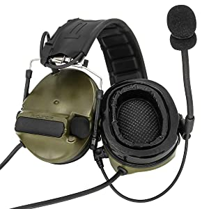 TAC-SKY Comta III Double Plugs Tactical Headset,Ear Protection,Sound Amplification for Airsoft Sport (Army Green) (Color: Army Green)