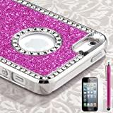 Pandamimi - Deluxe Rose Pink Diamond Rhinestone Glitter Bling Chrome Hard Case Cover for Apple iPhone 5 5G , Screen Protector and Stylus