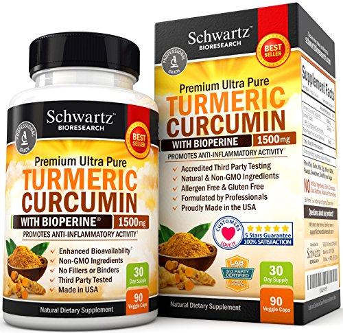 Turmeric Curcumin with Bioperine 1500mg. Highest Potency Available. Premium Pain Relief & Joint Support with 95% Standardized Curcuminoids. Non-GMO, Gluten Free Turmeric Capsules with Black Pepper (Black Seed Extract Capsules compare prices)