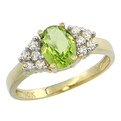 14ct Yellow Gold Natural Peridot Ring Oval 8x6mm Diamond Accent, sizes J - T