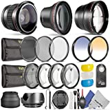 52MM Professional Accessory Kit for NIKON DSLR (D3200 D5200 D5100 D5000 D3000 D90 D80) - Includes: 0.35x Super Wide Fisheye, 0.43x Wide Angle & 2.2x Telephoto Lenses + Remote Control + Vivitar Filter Kit (UV, CPL, ND8) + Vivitar Macro Close-Up Set + Collapsible Lens Hood + Tulip Lens Hood + Center Pinch Lens Cap + 2 Color Filters + Flash Diffuser Set + Deluxe Cleaning Kit with MagicFiber Microfibers