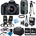 "Canon EOS Rebel T5 18MP DSLR Camera Ultra 3 Lens Bundle Includes: Rebel T5 Digital Camera, EF-S 18-55mm IS II lens, 2.5X Telephoto and 0.45X Super Wide Angle high definition lens set, Flash, 59"" Tripod, Carry Case, 16GB & 8GB Memory Cards, Filters & more"